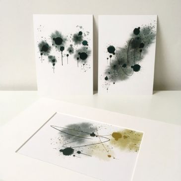 "Abstract mini prints - teal & mustard (set of 3 5x7"" prints)"